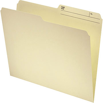 Continental File Folder 41801, 1/2-Cut, Letter Size, 11 pt., Manila, 100/Pack