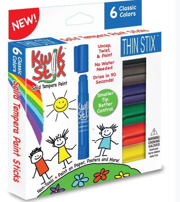 KwikStix TPG-607 ThinStix Tempera Paint Sticks - 6 Classic Colors