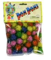 C338 Pom Poms Assorted Colours Glitter - 0.75""