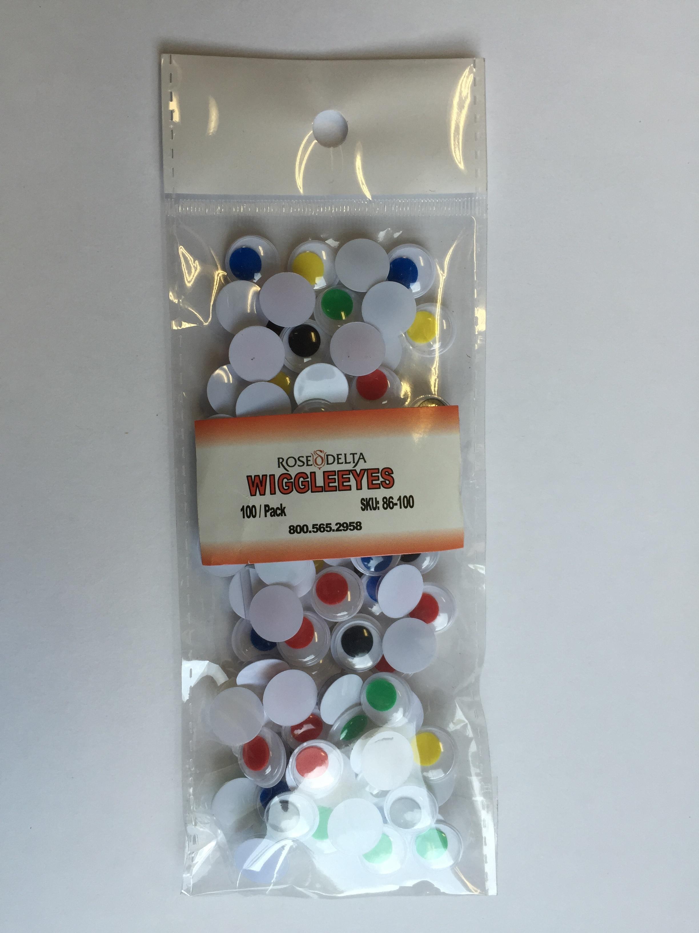 Wiggle Eyes Ass.Colours - 12mm - 100/pk